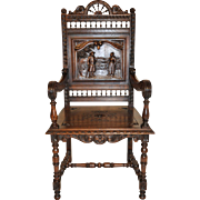 Impressive Antique French Breton Arm Chair, Turn of the Century