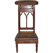 French Gothic Prayer Chair / Church Kneeler, 1920's
