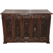 Antique French Gothic Desk, Intricately Carvings Depicting the Demise of St. Denis