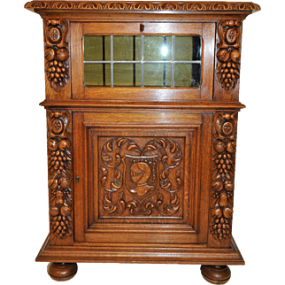 Vintage French Renaissance Cabinet, Oak, Circa 1940's, Great Pricing