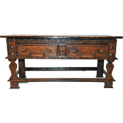Rustic English Sideboard, Plank Board Top, 19th Century