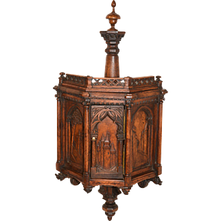 Fascinating Antique French Gothic Corner Wall Cabinet, Tall Model