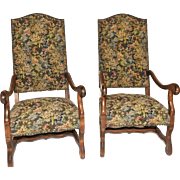 Vintage Pair of French Arm Chairs, Tapestry Cover, 1940-50's