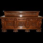 Vintage Bruegel Server with Opulent Carvings, Oak, Circa 1950's