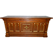 Antique French Oak Wood Church Altar, Late 19th Century