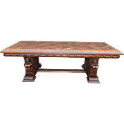 Heavily Carved Vintage Bruegel Dining Table or Writing Table, 1950's, Oak