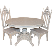 Antique French Dining Table & Two Gothic Chairs, Custom Painted, Shabby White