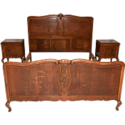 Vintage French Bedroom Set, Includes Bed & 2 nightstands