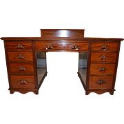Unusual Vintage Mahogany Desk with Attached Storage Box, 1940's