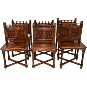 Special Set of Antique French Gothic Chairs, Walnut, 19th Century