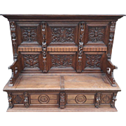 Fantastic Antique French Renaissance Bench, Great Carvings, Oak, 1900's