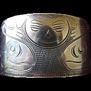 Rare Vintage Northwest Coast Native American Sterling Silver Cuff