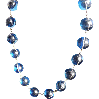 "Beautiful Art Deco French Blue  ""Pools of Light ""  Sterling Silver Necklace  c.1910  Very Rare"