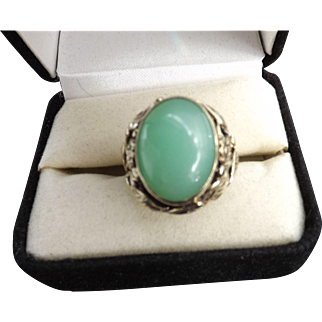 Antique Art Nouveau/Arts and Crafts 14 kt. Gold Jade Ring  C.1910