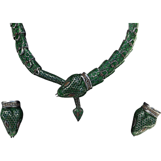 Beautiful Vinatge Sterling Silver Mexican Enamel Necklace and Earrings  C.1960