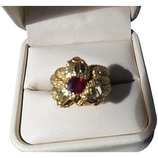 Beautiful 18 Kt.Gold Three Headed Ruby Snake Ring.