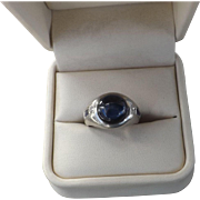 Beautiful 18 kt, Gold Art Deco 5 Carat Sapphire Ring  C.1930
