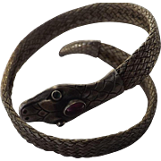 Antique Victorian Sterling Silver Snake Bracelet  C.  !870   Very Rare