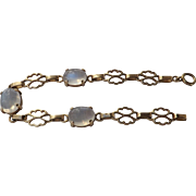 Beautiful  Arts and Crafts !4 kt. Gold Moonstone Bracelet    C.1920