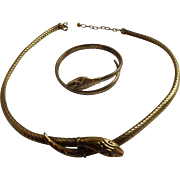 Art Deco French Gold/Sterling  Snake Necklace  and Bracelet C.1930.s