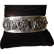 Antique  Chinese Qing Dynasty Solid Silver Dragon Bracelet  Very Rare
