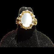 Beautiful Antique Victorian 18 Kt. Gold Diamond Moonstone Ring  C.1870
