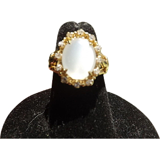Beautiful Antique Victorian 18 Kt. Gold Diamond Moonstone Ring  C.1870