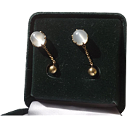 Antique 14 kt. Gold Moonstone Earrings   C.1900