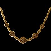 Antique Victorian Etruscan Revival 16  Kt. Gold Filigree Bead Necklace   C. 1860