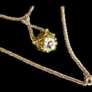 Antique Victorian 16 kt. Gold Enamel Diamond Miniature Tiger   C. 1860  Very  Rare