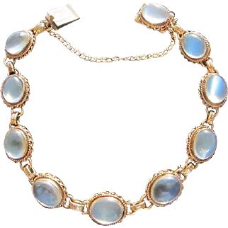 Beautiful Antique Arts and Crafts 14 kt. Moonstone Bracelet  C.1910