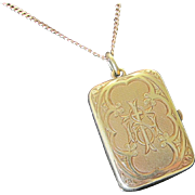Antique Victorian 14 kt Gold Locket With  14 kt. Gold Rosary Beads  C.1840 Rare