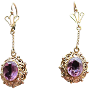 Antique Victorian 14 kt. Gold Amethyst  Earrings C.1890