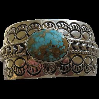 Beautiful Vintage Navajo Sterling Silver Turquoise    C.1960 Signed H.Spencer  ( Code Talker )