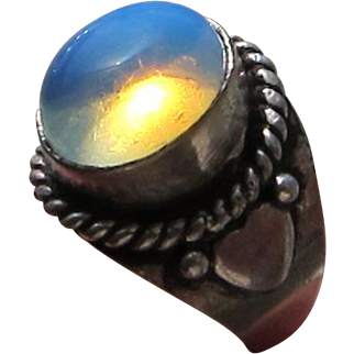 Antique Arts and Crafts Sterling Silver Moonstone Ring    C.1900