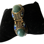 Antique Chinese Sterling Silver Enamel Jade Bracelet  C.1910