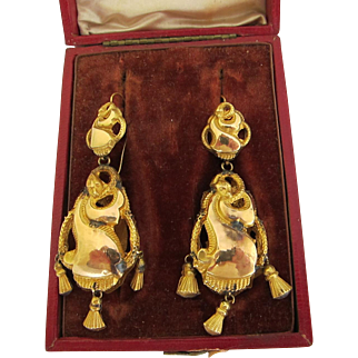 Very Rare Spanish Colonial 16 kt. Gold Snake Earrings          C.1700