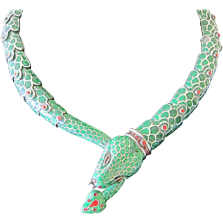 Beautiful Vintage Sterling Silver Mexican Enamel Snake Necklace Signed Melesio Rodrigueiz  C.1960