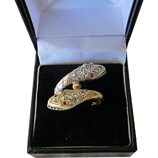 Beautiful 18 kt. Gold Art Deco Diamonds and Rubies  Snake Bypass Ring C1930s