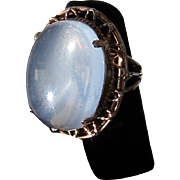 Antique Arts and Crafts 14 kt. Gold Moonstone Ring  C.1900