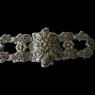 Antique Spanish Colonial Renaissance Revival Coin Silver Bracelet  C.1850