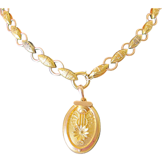 Antique Victorian 15 kt. Gold  Exquisite Book Chain Necklace with Rare  Poison  Locket   C.1860   Very Rare