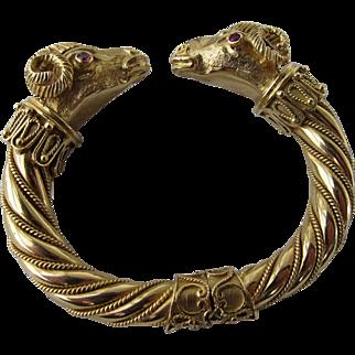 Antique Etruscan 18 kt. Gold Rams Head Bracelet  C,1880  Very Rare