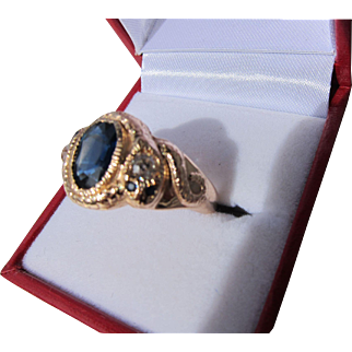 Antique Victorian 15 kt. Gold Blue Natural Sapphire and Diamond Snake Ring  C,1890