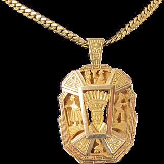 Antique Victorian 18 kt. Gold Aztec Mexican Necklace  C. 1880,s