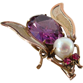 Beautiful Victorian 15 kt. Gold Insect Pink Sapphire and Rubies, Pearl Brooch   C.1900
