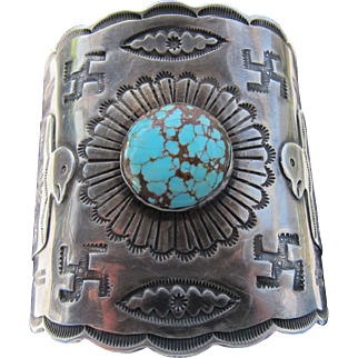Beautiful  Old Coin Silver Navajo Cuff with Whilring Logs, and Thunderbirds    C.1920's
