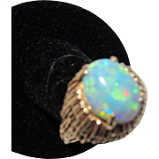 Antique Arts and Crafts 14 kt. Gold Black Opal Ring  C.1910