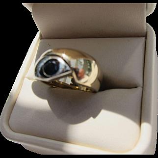 Beautiful Vintage 14 Carat Gold Blue Sapphire Snake Ring  C.1960