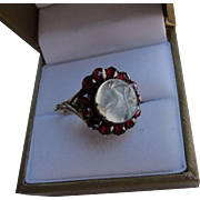 """Beautiful Victorian 14 kt gold """" Man in the Moon """" Moonstone  Ring   C.1860"""